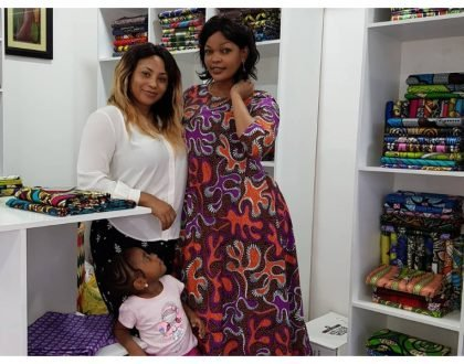Esma Platnumz with her daughter and Wema Sepetu at her shop