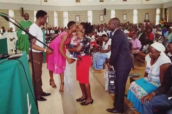 Ababu Namwamba introduces Ann Paula Machio to the congregation