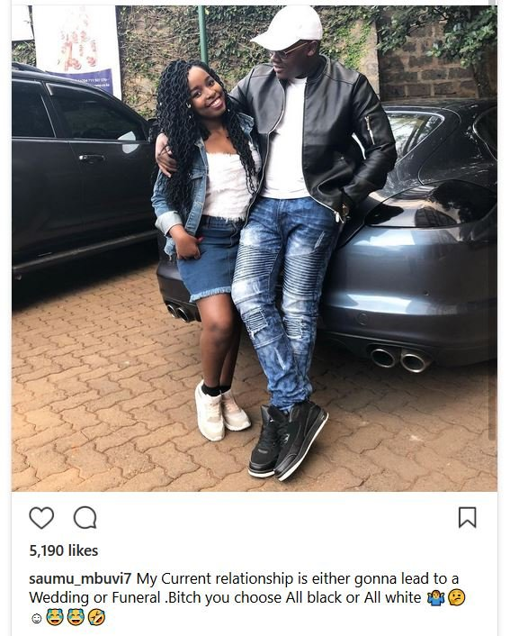 A photo of Saumu Mbuvi with her bae on her IG before she pulled it down