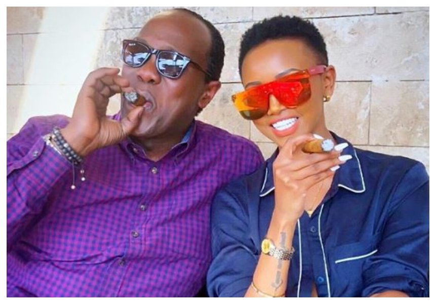 Jeff Koinange hooks up with Huddah Monroe to puff on some expensive Caribbean cigars (Photos)