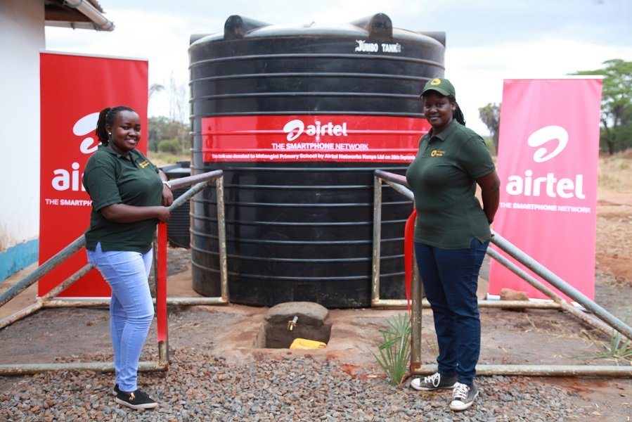 From left, Dorcas Gathura and Angela Kabari of Project Ngulia who are running the Community Conservation Awareness project in partnership with Airtel and KWS.