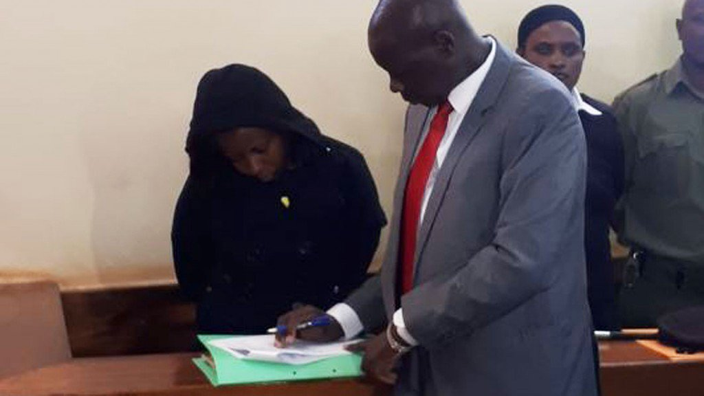 Jacque Maribe with her lawyer Katwa Kigen in court on Monday October 1st