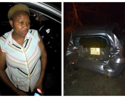 Undeterred journalist Saddique Shaban nabs drunk University of Nairobi lecturer who nearly killed three in Mlolongo crash (Photos)
