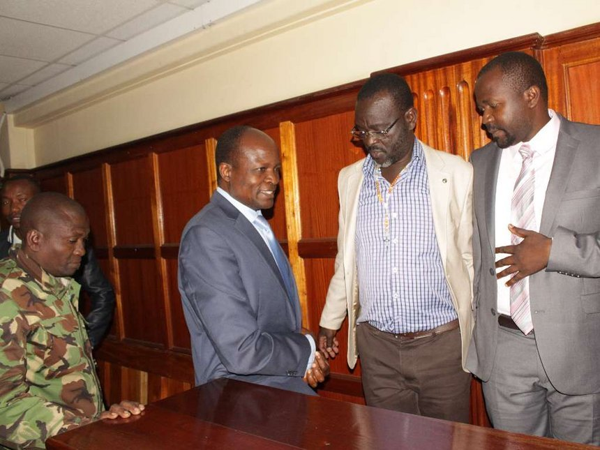 Okoth Obado with co-accused Caspal Obiero and Michael Oyamo