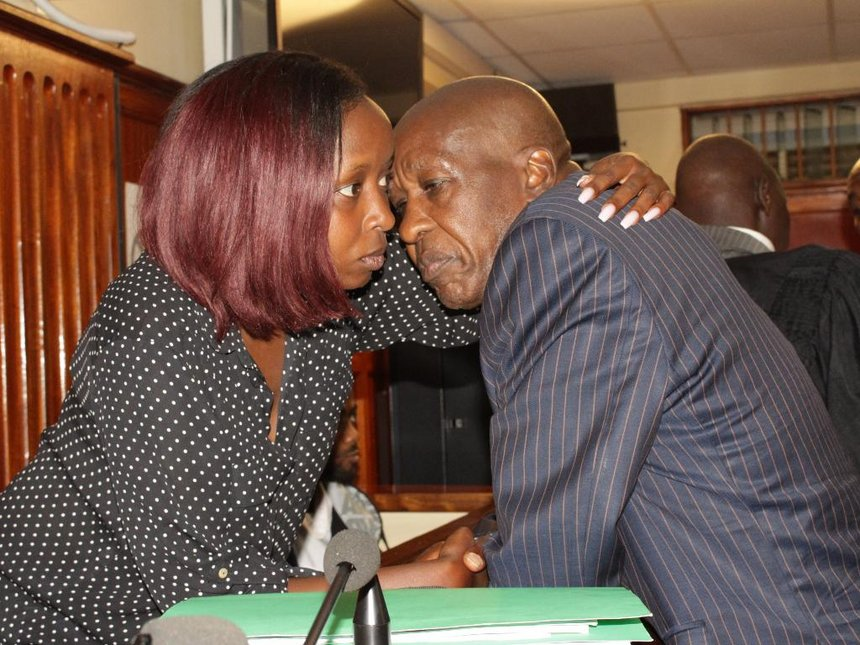 Jacque Maribe with her father Mwangi Maribe in court