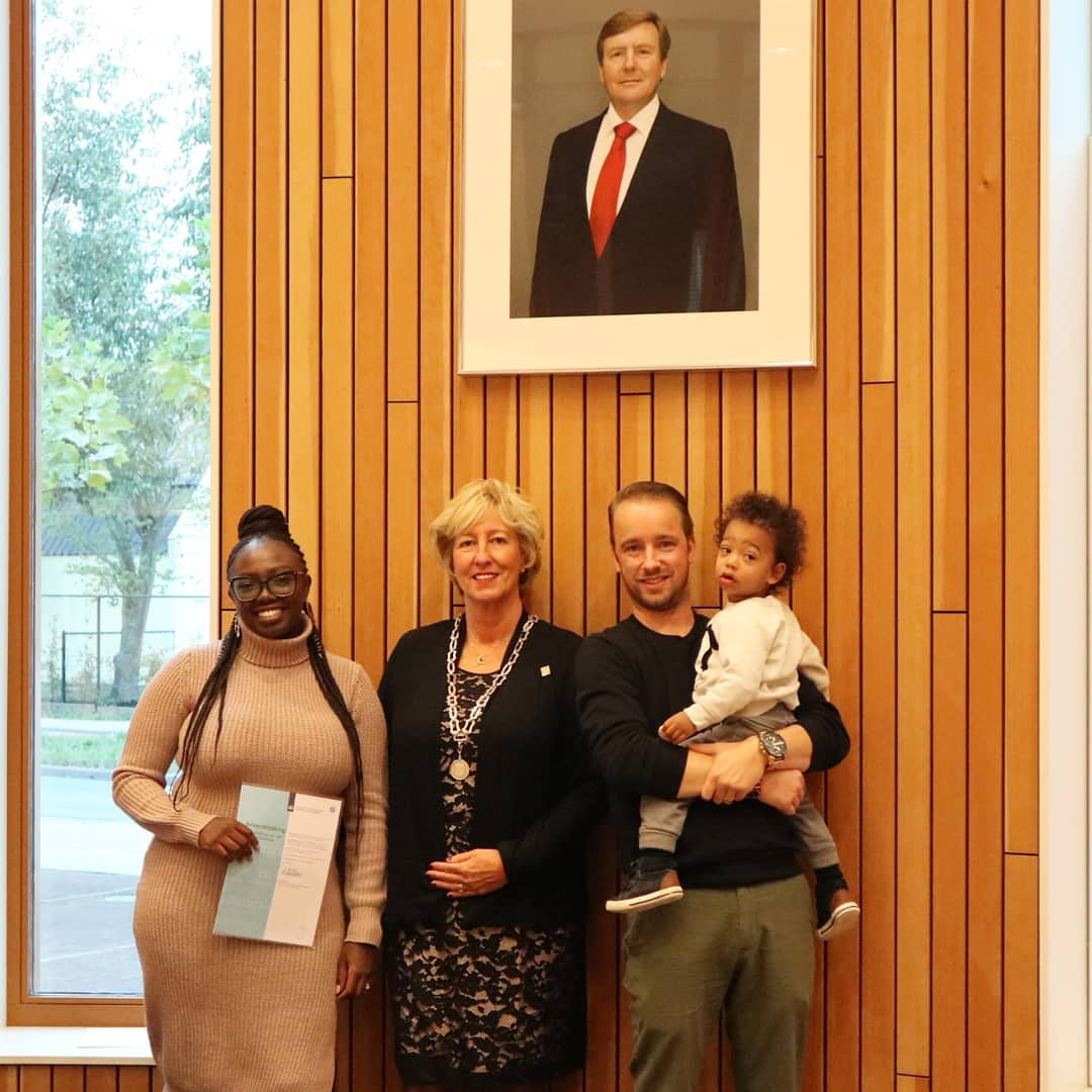 Wendy Kimani with her husband Marvin Onderwater and son when she acquired her Dutch citizenship