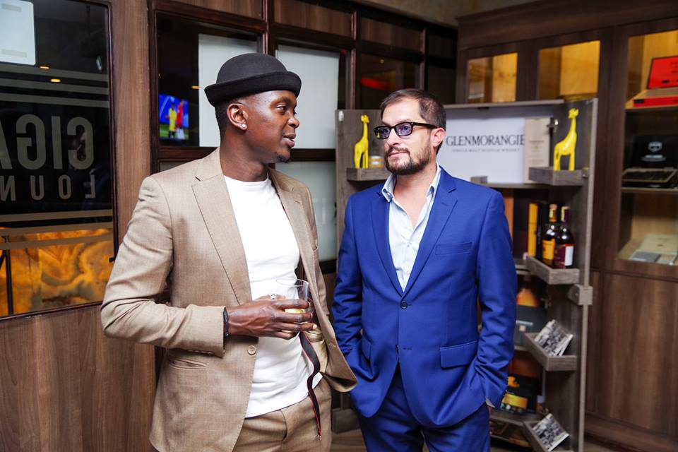 CEO Soundset Africa Creative Tim Adeka and Alexandre Helaine - Market Manager Moet Henessey catching up at the Glenmorangie whisky tasting.
