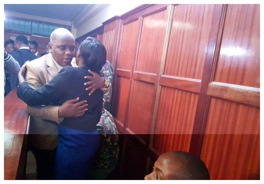 Dennis Itumbi hags Jacque Maribe in court