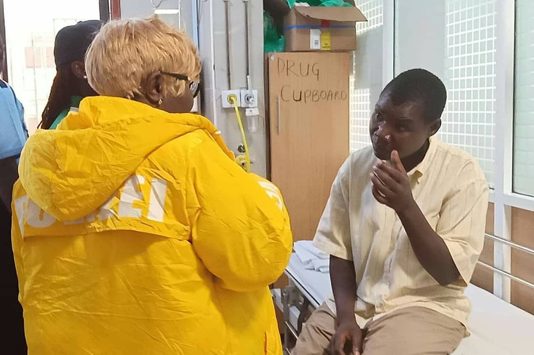 Congestina Achieng undergoing checkup at Nairobi West Hospital after she was flown to the capital.