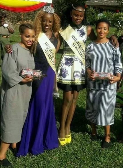 Late Mercy Mokeira and Shay Halima posing with Miss Lang'ata Prison Ruth Kamande (left) and another prison beauty