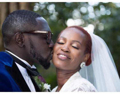 Photos ofSauti Sol's Polycarp Otieno exchanging vows with his Burundian sweetheart in a white wedding