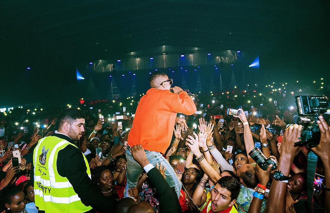 Wizkid performing at the One Africa Music Festival in Dubai