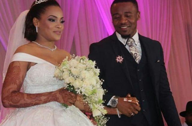 Alikiba and his Kenyan wifeAmina Khalefduring their white wedding