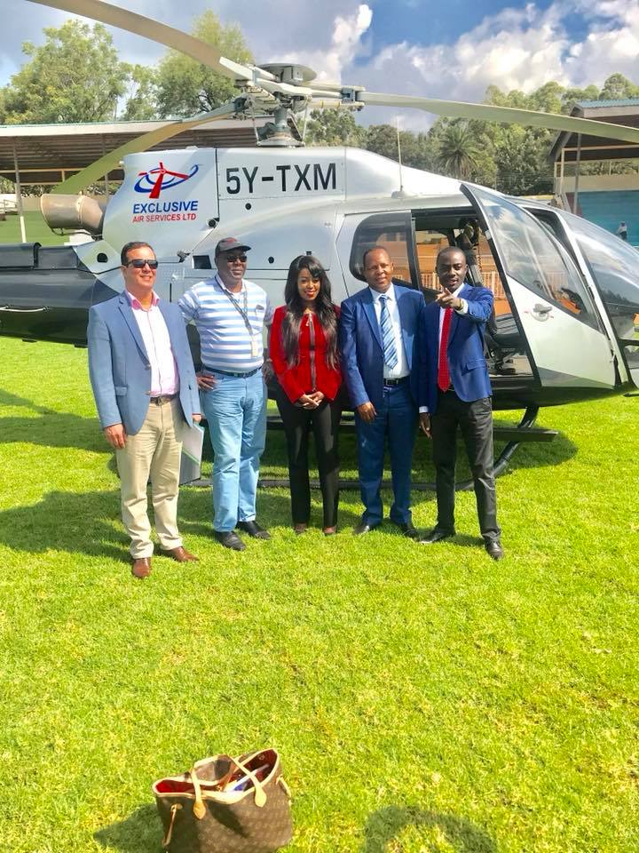 Lillian Muli with her baby daddy Jared Nevaton (second on right) pose for a photo after they touched down in Kisii
