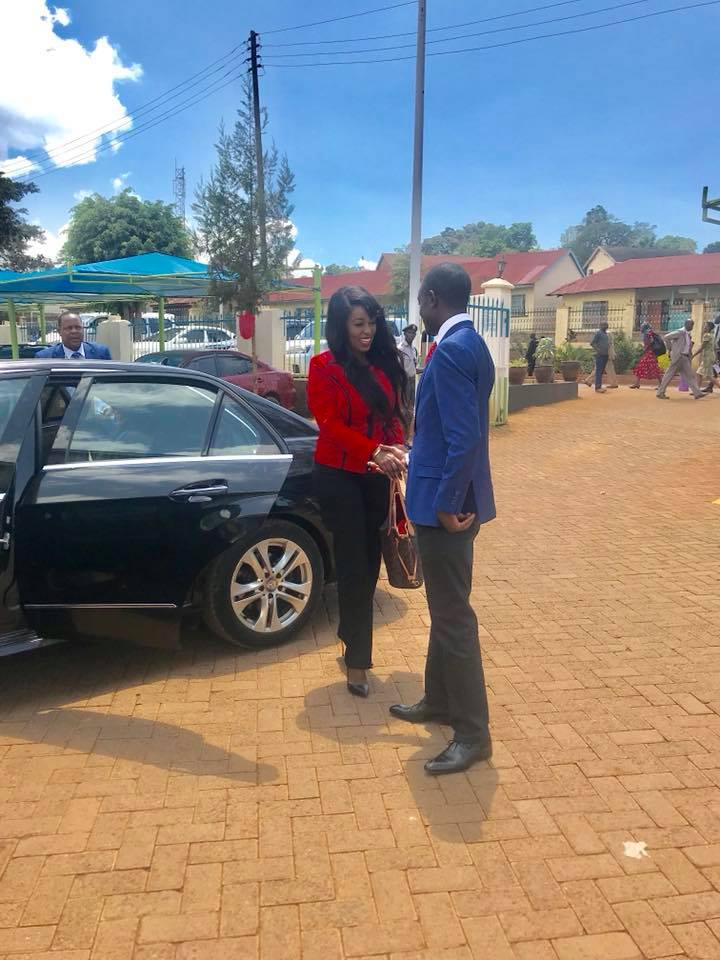 Lillian Muli and Jared Nevaton arrive at Kisii County office
