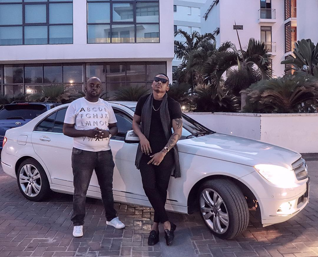 Otile Brown poses next to his new Mercedes Benz. He bought the German machine with his own money days after breaking up with Vera Sidika