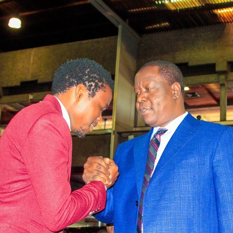 Chipukeezy with Internal Security CS Fred Matiang'i at KICC