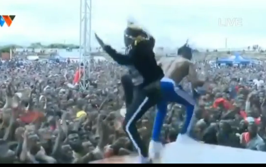 Diamond Platnumz and Rayvanny fall of stage after collapsing during heated performance(video)