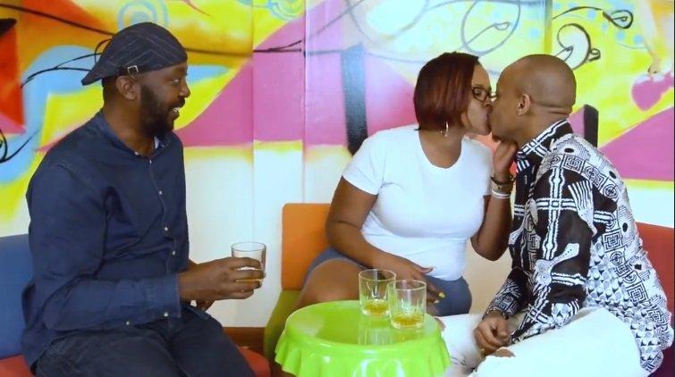 Kamene Goro and Prezzo kiss as Andrew Kibe watch