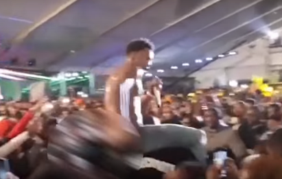 Video: Shameless Nairobi lady pervertedly undresses rapper Desiigner leaving his buttocks exposed