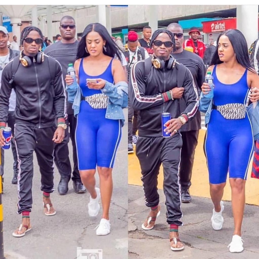 Diamond and his Kenyan girlfriend Tanasha Donna Oketch at JKIA