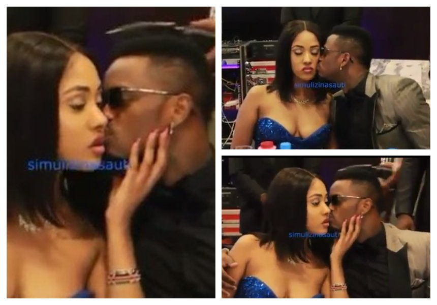 Mapenzi kikohozi! Watch moment Diamond kisses Tanasha at least 8 times in 60 seconds at a function in a Dar es Salaam hotel (Video)