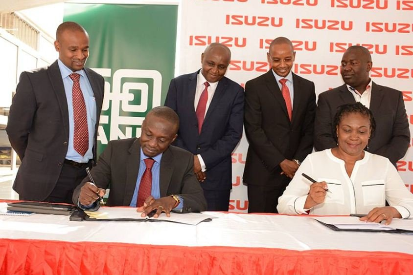 Co-op bank and Isuzu East Africa top honchos during the signing of the partnership