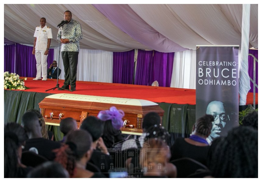 President Uhuru: Late Bruce Odhiambo helped me straighten up my son Jomo, I will ensure his children complete education and settle in life