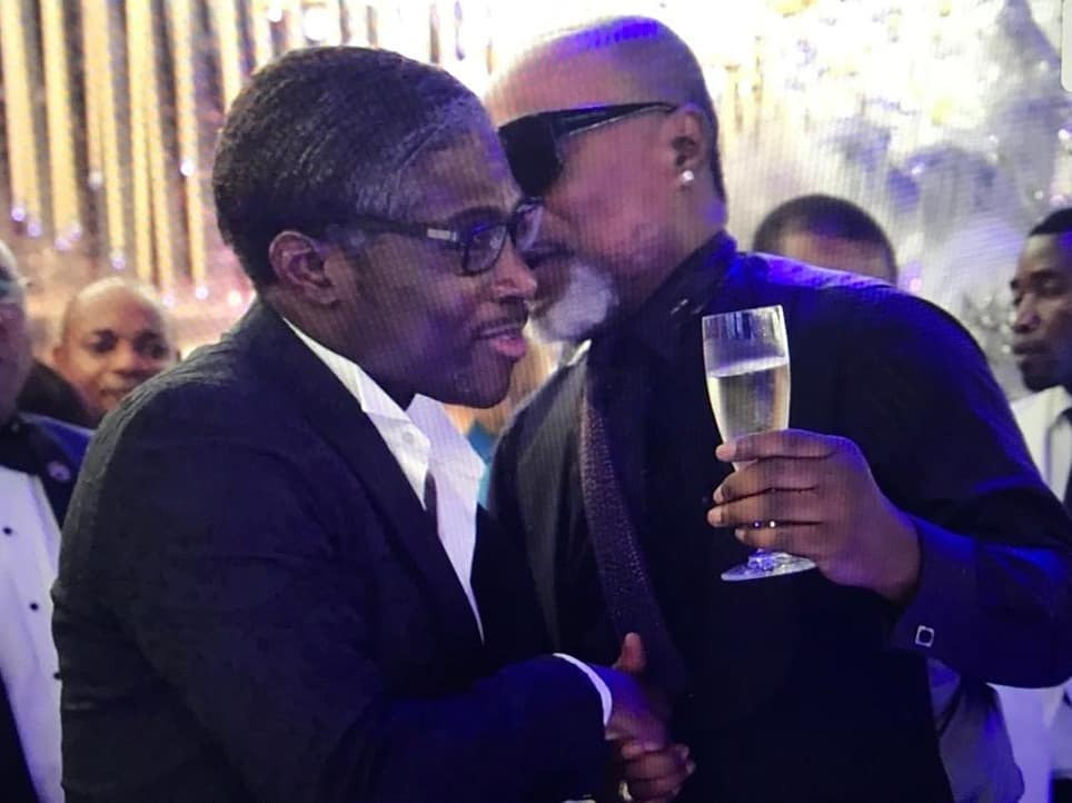 Koffi Olomide with vice president of Equatorial Guinea Teo Nguema at the new year party in Malabo
