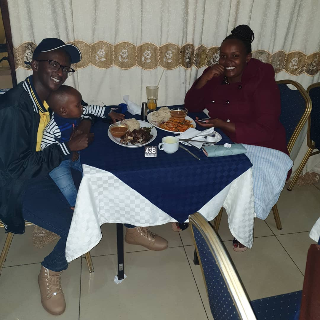 Njuguna with his wife and son