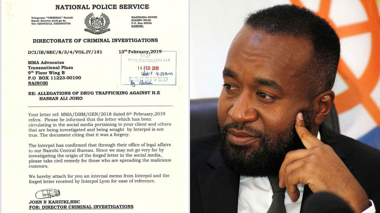 Official letter doing rounds online stating Joho is a wanted drug dealer fake- DCI