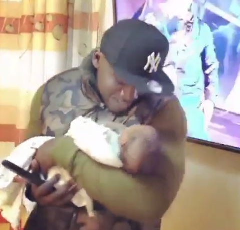 For the gram! Khaligraph Jones attacked for shaking weeks old baby pretending to put her to sleep