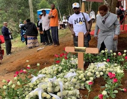 Sad! Alex Mwakideu's mother laid to rest (photos)