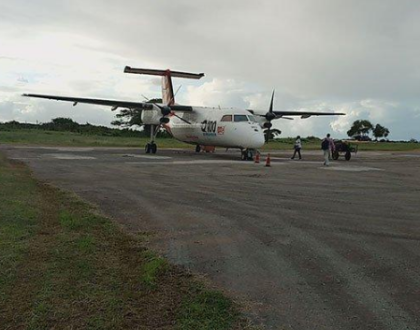 Kenya inamambo! Flight canceled after plane gets stuck in a pothole on the runway