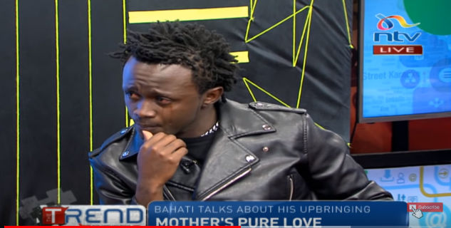 Video: Bahati cries on live TV while speaking about his late mother