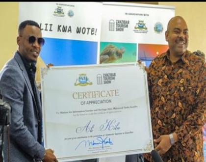 Ali Kiba rewarded for promoting tourism in Zanziba