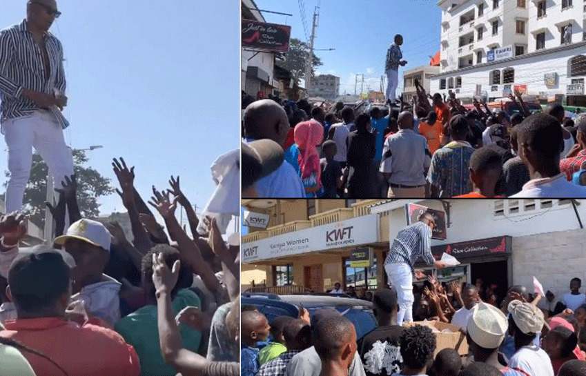 Otile Brown dishes out sums of money and free pairs of shoes to Mombasa locals [video]