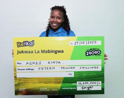 Betika's 15 Million Midweek Jackpot Lady winner!!!