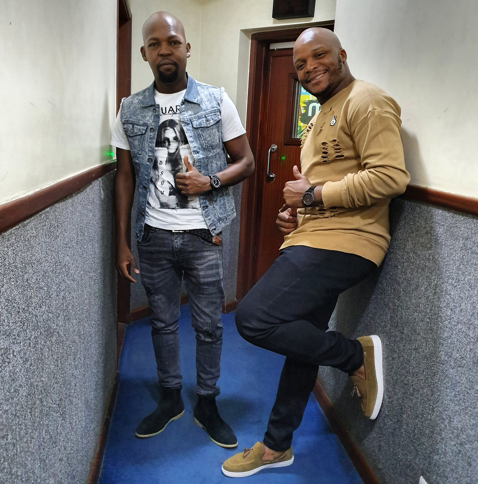 Jalang'o with presenter Alex Mwakideu at Milele FM studio (file image)