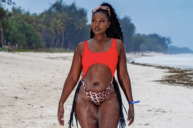 Maureen Waititu parades curves in revealing swimsuit while on vacation with her sons (Photos)