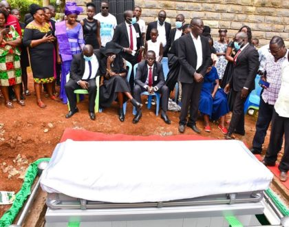 Sad, but It is well! Akothee's brother breaks down during his late wife's final send off (Photos)