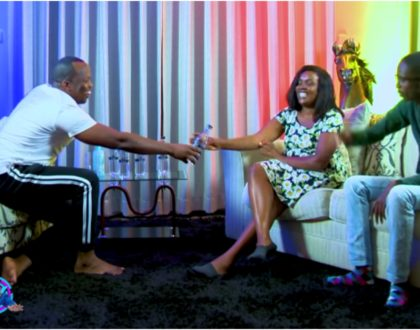 Njugush turns emotional after MC Jessy gets flirty with wife Celestine Ndinda during interview (Video)