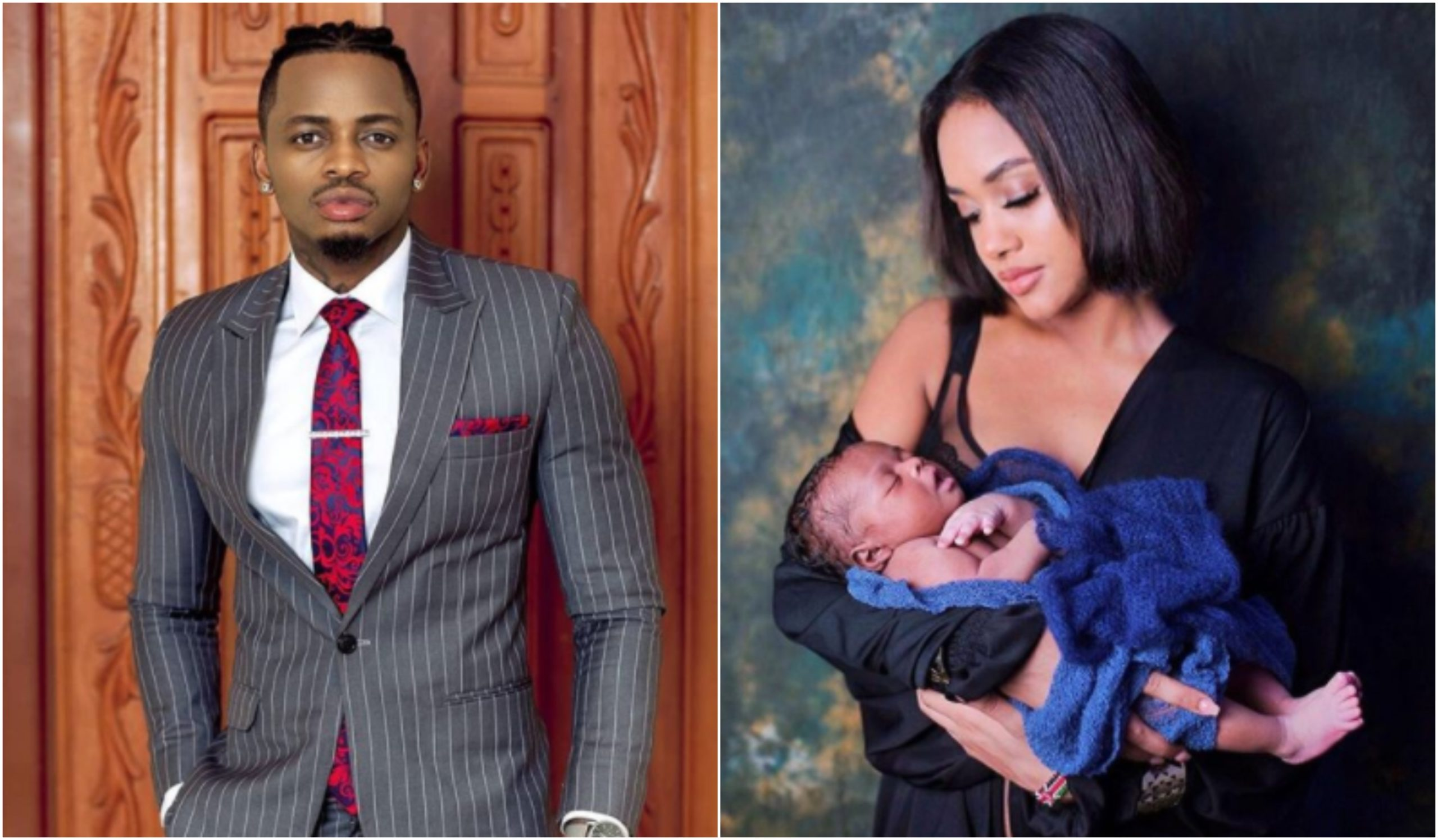 Never before seen romantic photos of Tanasha and Diamond in hospital on her delivery date emerge as son turns 1 year old
