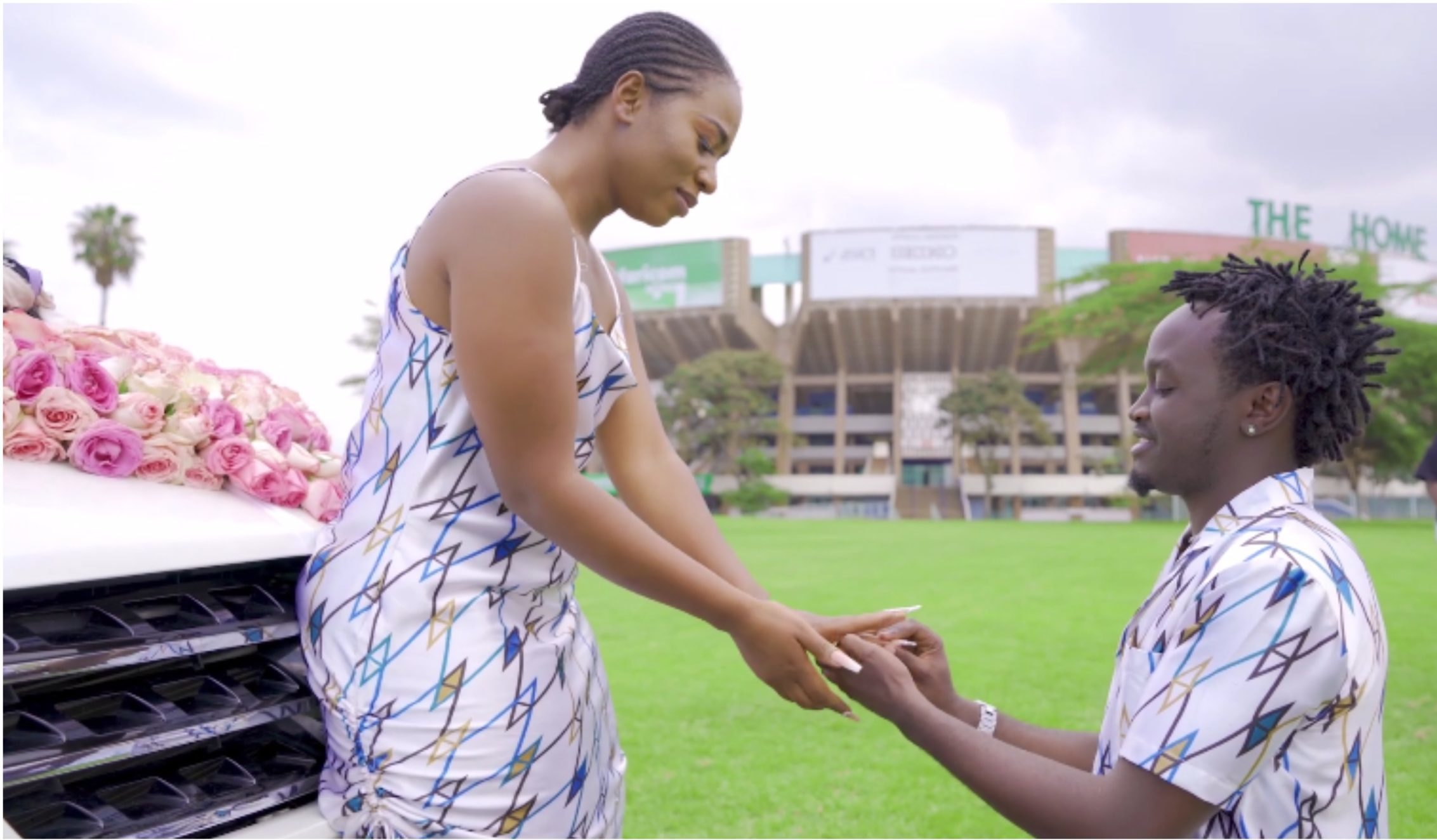 Tears flow as Bahati surprises wife with brand new Mercedes Benz before going down on his knees (Video)
