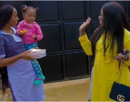 Interesting turn of events as Diana Marua switches roles with nanny (Video)