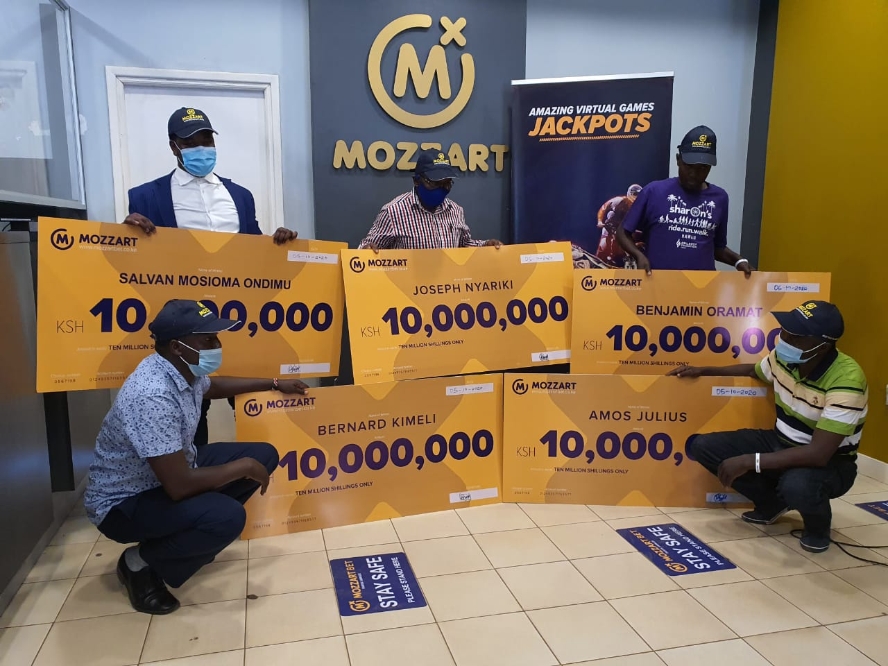 5 lucky Kenyans walk away with KSh60M after staking 50 bob only!