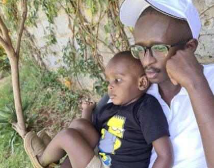 Can your son even? Blessed Njugush and son, Tugi look dapper as they step out in matching suits (Photos)