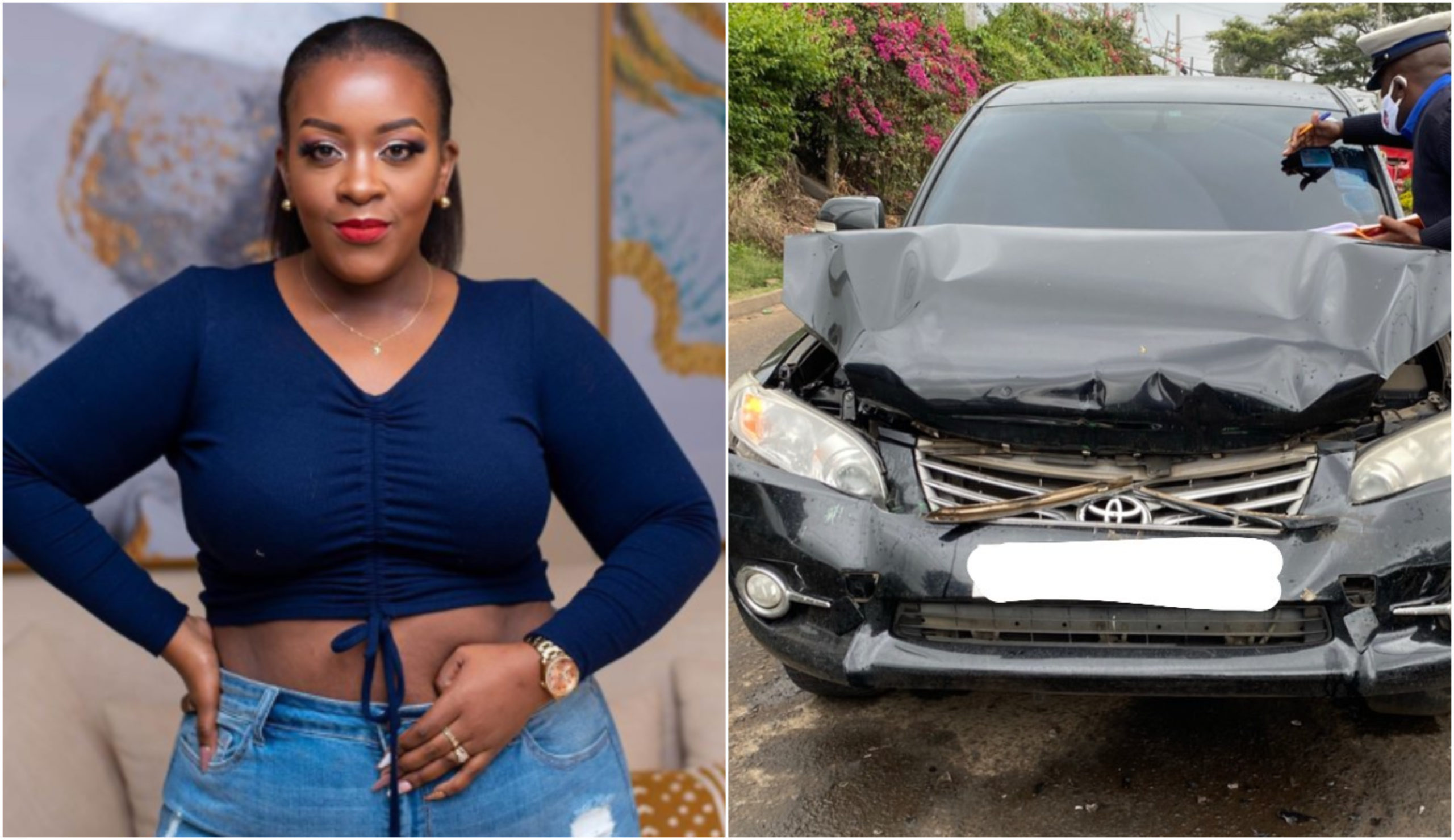 Yummy Mummy involved in road accident (Videos)