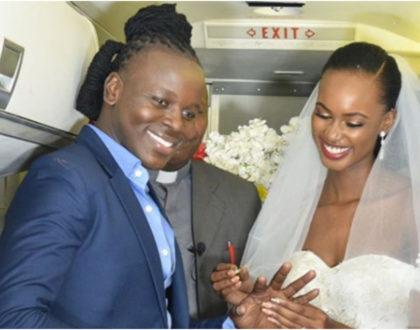 Ujaluo ni gharama! Meet Kenyan man who broke the bank to wed lover inside a plane (Photos)