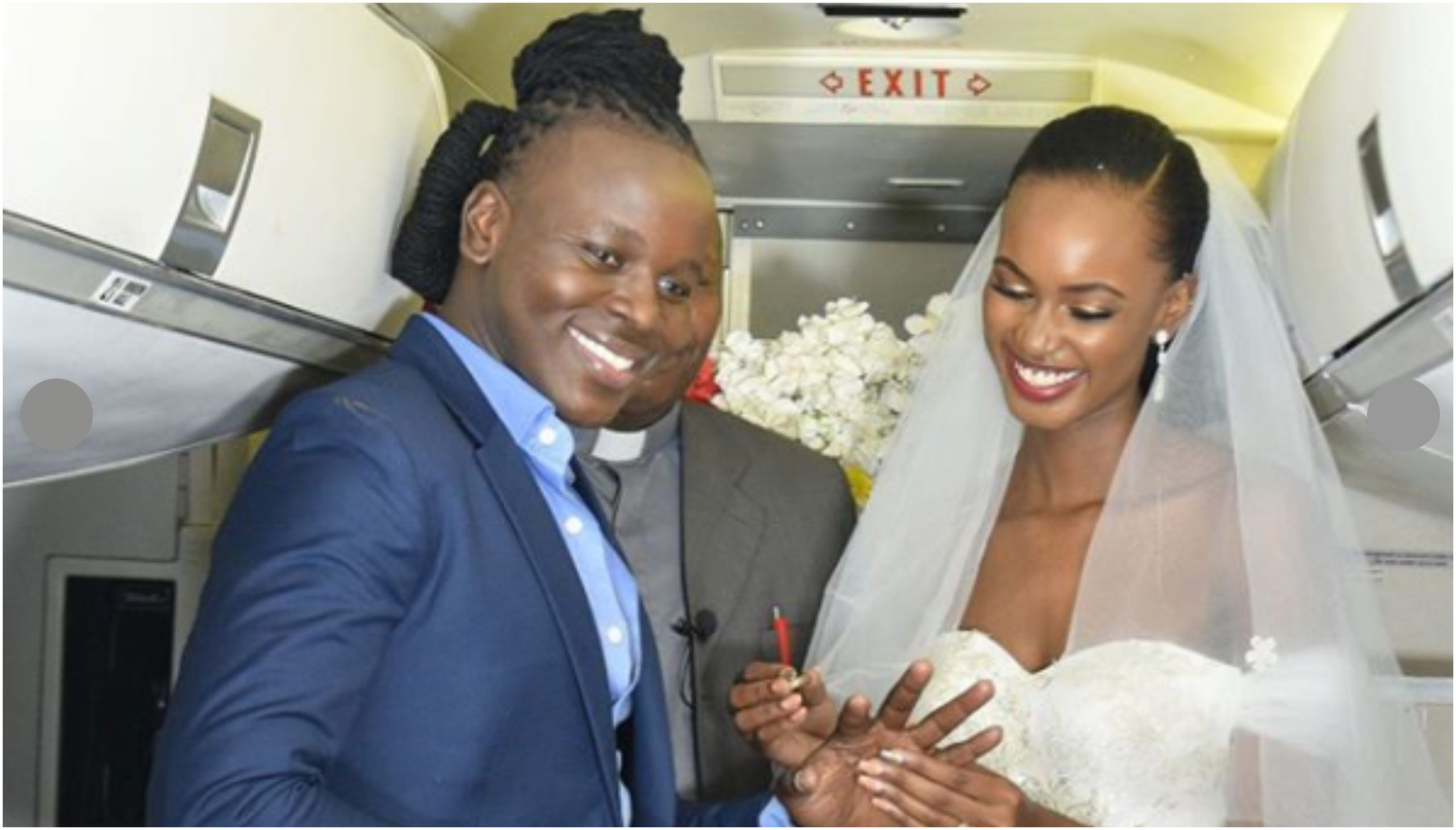 Ujaluo ni gharama! Meet Kenyan man who broke the bank to wed lover inside a plane (Photos)